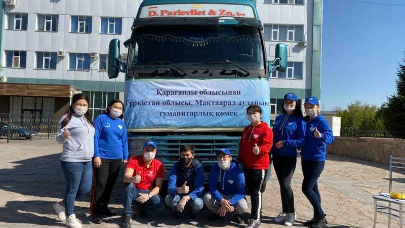 Қарағандылық еріктілер Түркістан облысына 2 тонна гуманитарлық көмек жіберді
