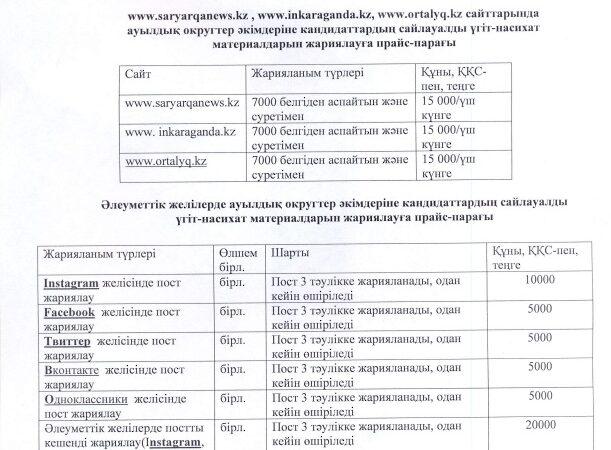 «Saryarqa Aqparat» ЖШС-ның сайттарында және әлеуметтік желілерінде ауылдық округтер әкімдеріне кандидаттардың материалдарын жариялауға ақпараттық прайс-парағы